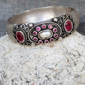 Vintage sterling pink tourmaline bracelet